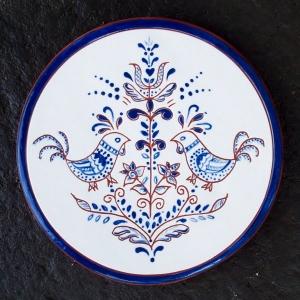 6 in. Round Blue Chicken Tile Trivet- $25.